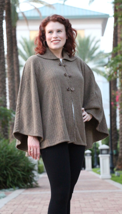 The Sasha - Womens knitted cape with collar