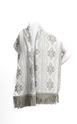 Snowflake Reversible Pashmina Scarf -Winter White/Tan Combination