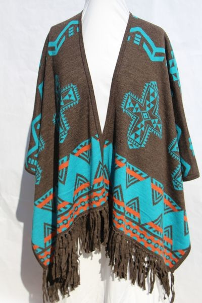 Southwest women's wrap ruana shawl
