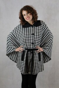 Houndstooth Women's Belted Cape