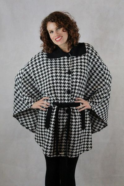 women's belted houndstooth cape